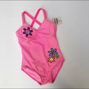Gymboree pink one piece swimsuit NWT vintage